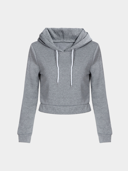 Yoins Light Grey Hooded Strappy Front Crop Sweatshirt