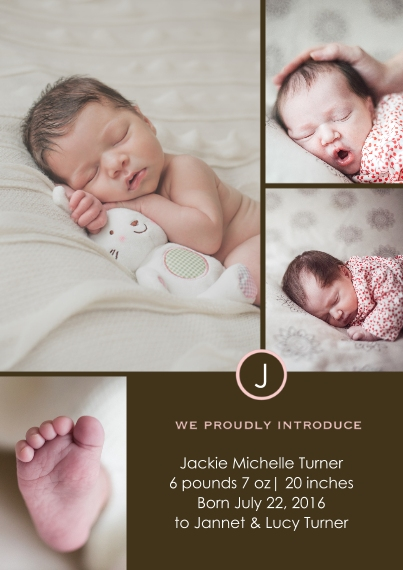 Newborn Flat Matte Photo Paper Cards with Envelopes, 5x7, Card & Stationery -Classic Girl Monogram