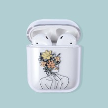 1pc Graphic Clear Airpods Case