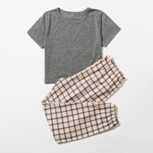 Girls Round Neck Plaid PJ Set