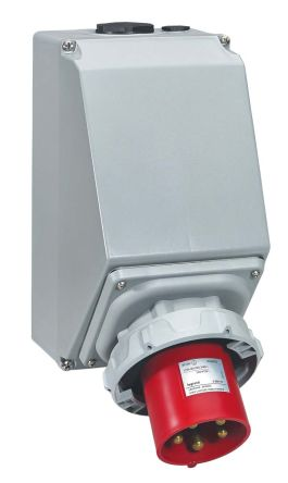 Legrand IP67 Red Wall Mount 3P+N+E Right Angle Industrial Power Socket, Rated At 125.0A, 415.0 V