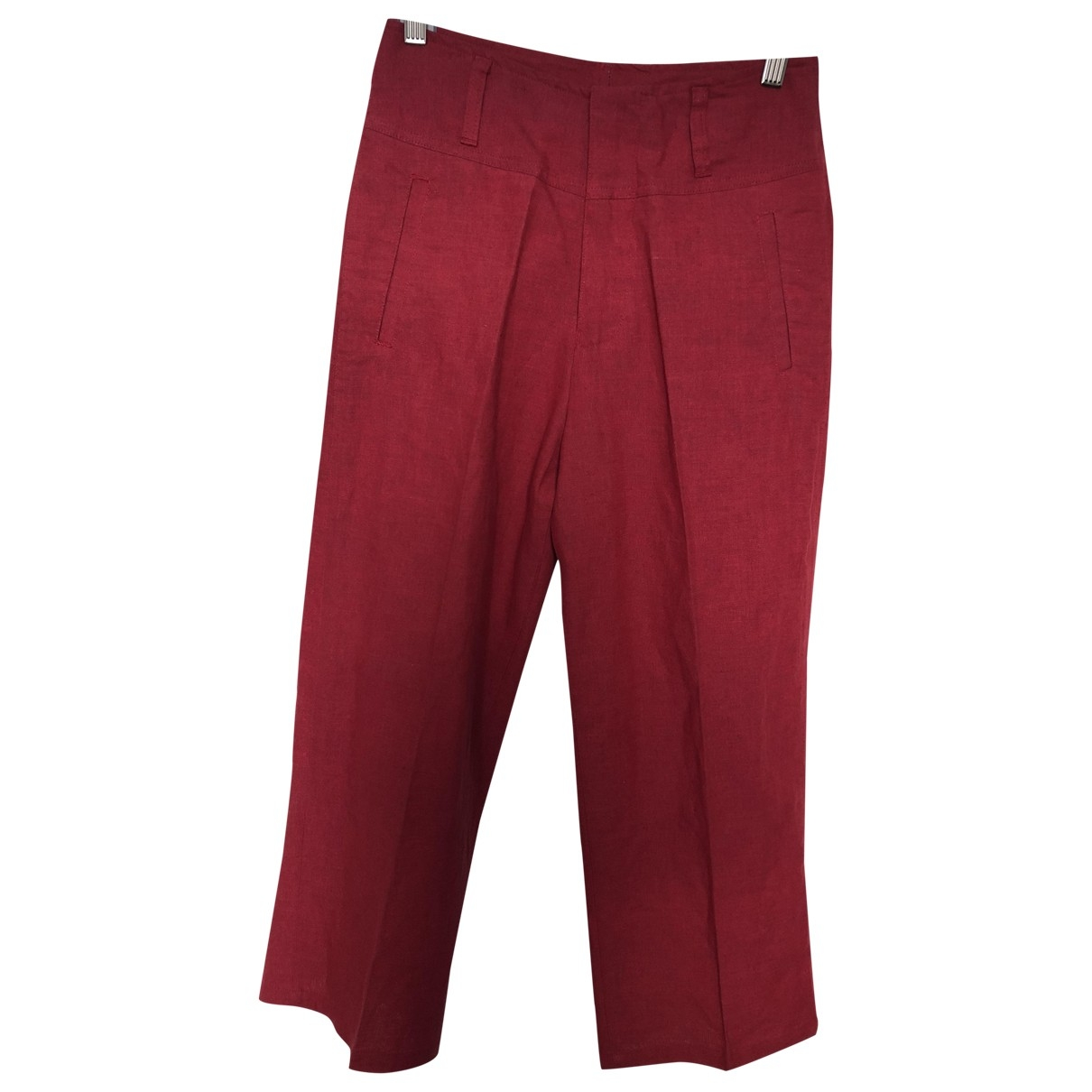 Non Signé / Unsigned \N Red Linen Trousers for Women 38 FR