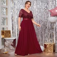 Kleid mit Kontrast Pailletten