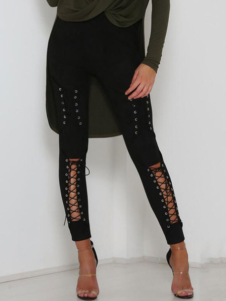 Milanoo Women Skinny Pants Lace Up Cut Out High Waist Suede Leggings