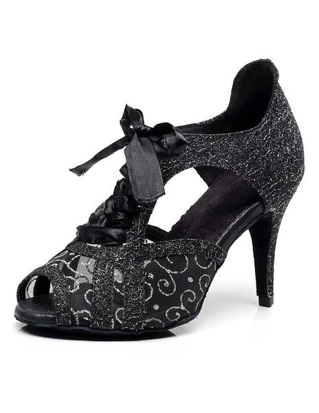 Milanoo Ballroom Shoes Lace Up Sequins Mesh Peep Toe Dance Shoes