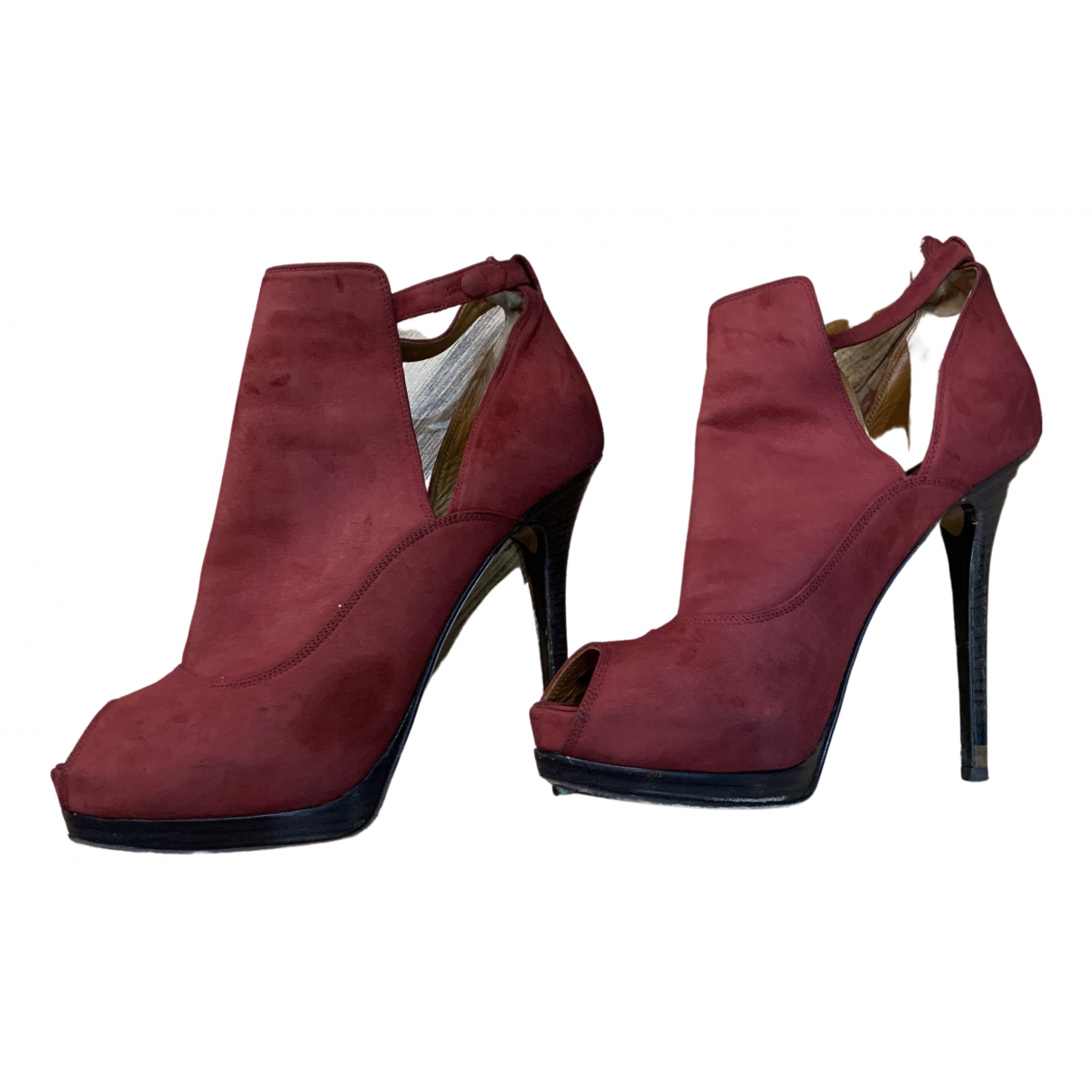 Fendi N Burgundy Suede Ankle boots for Women 40 EU