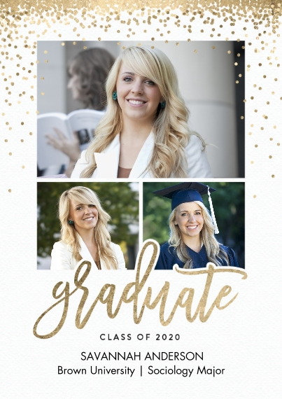 2020 Graduation Announcements 5x7 Cards, Standard Cardstock 85lb, Card & Stationery -Graduate 2020 Sparkles by Tumbalina