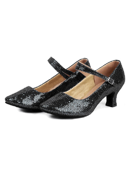 Milanoo Sequined Ballroom Shoes Pointed Toe Character Shoes Latin Dancing Shoes