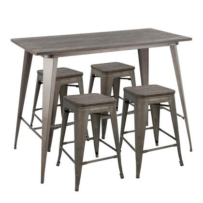 Oregon Collection C-OR5ANE Counter Height Set with Industrial Style and Metal Construction in Antique and Espresso