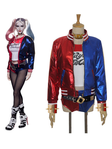 Milanoo Suicide Squad Harley Quinn Cosplay Costume Full Set Halloween With Wig