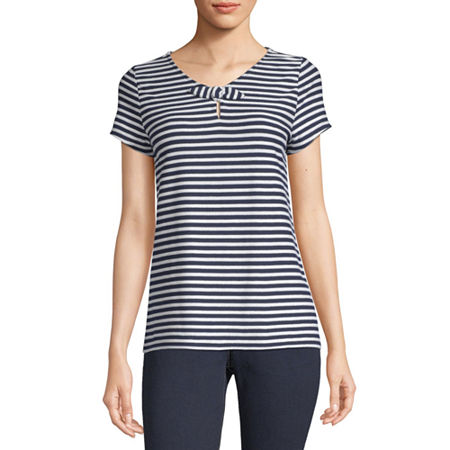 Liz Claiborne-Womens Keyhole Neck Short Sleeve T-Shirt, Medium , Blue