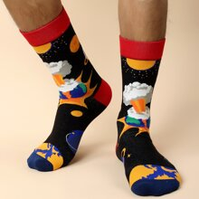 Men Planet Pattern Socks