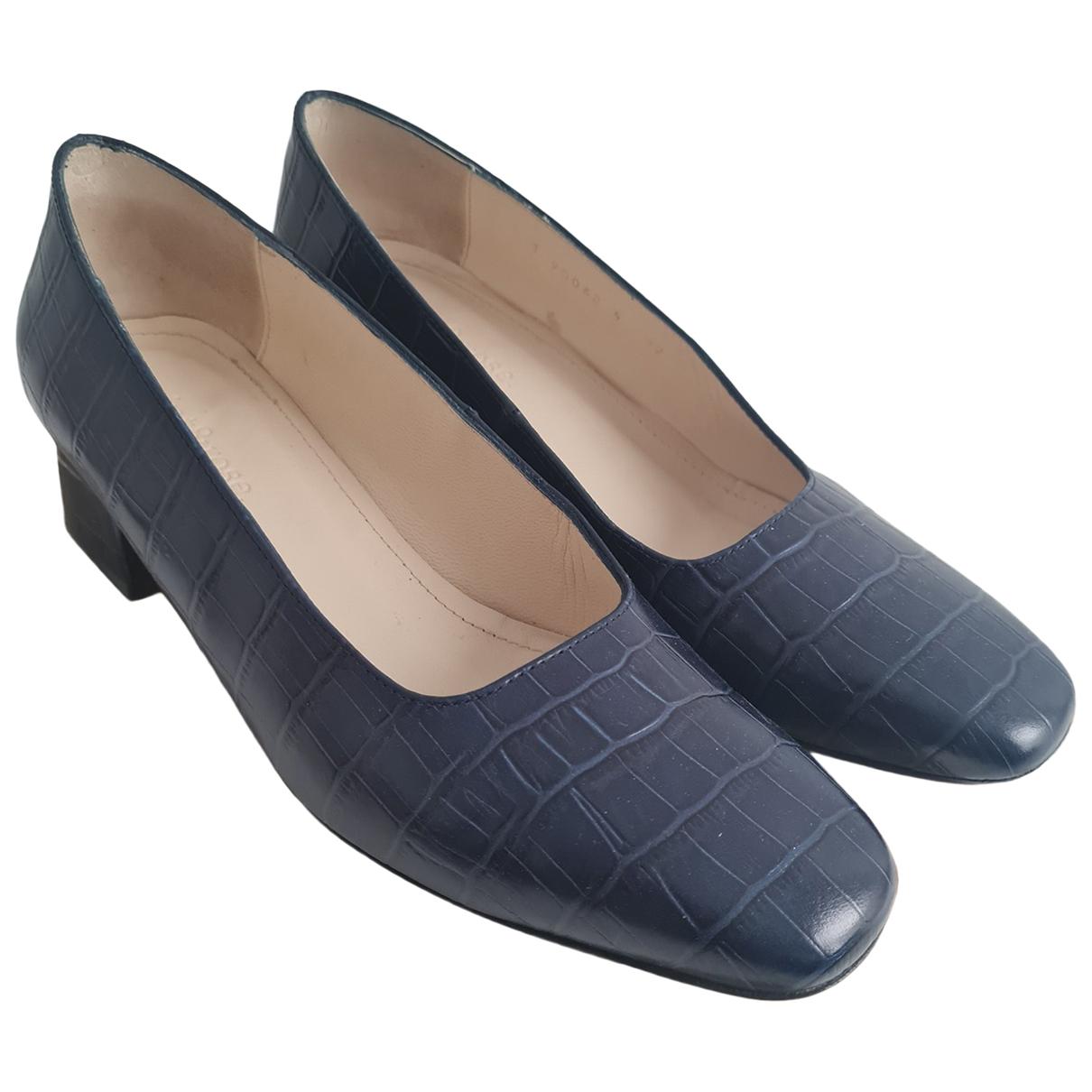 Mint & Rose N Blue Leather Heels for Women 39 EU