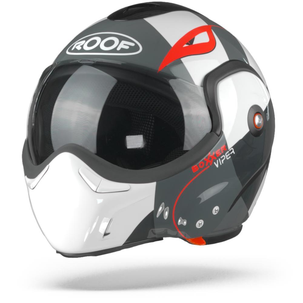 ROOF BoXXer Viper Casco Modular Blanco Negro Rojo  2XL