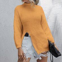 Strick Pullover mit Stehkragen und Schlitz