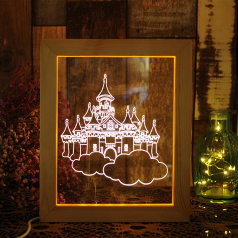 Fancy and Wonderful 3D Castles Acrylic Creative Birthday Gift USB Night Lamp
