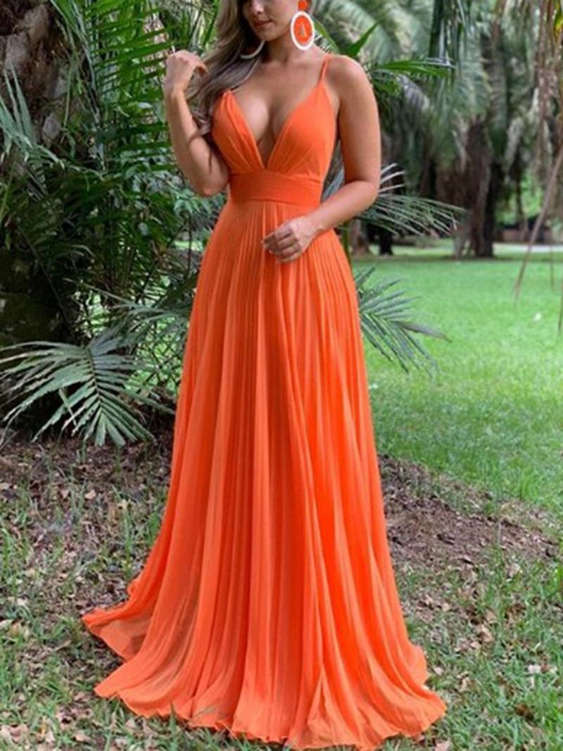Ericdress Spaghetti Straps A-Line Pleats Prom Dress