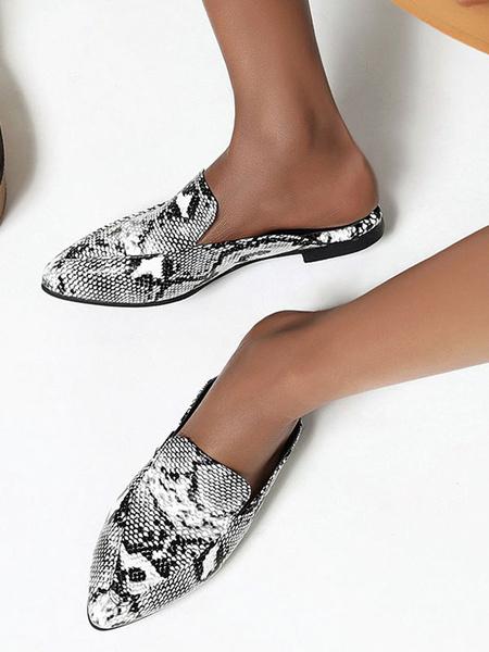 Milanoo Zapatos planos con estampado de serpiente y mulas planas para mujer