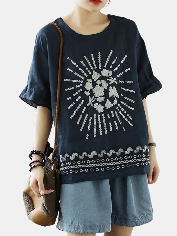 Flower Embroidery Half Sleeve Loose T-shirt For Women