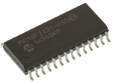 Microchip PIC18F2431-I/SO, 8bit PIC Microcontroller, PIC18F, 40MHz, 16.384 kB, 256 B Flash, 28-Pin SOIC