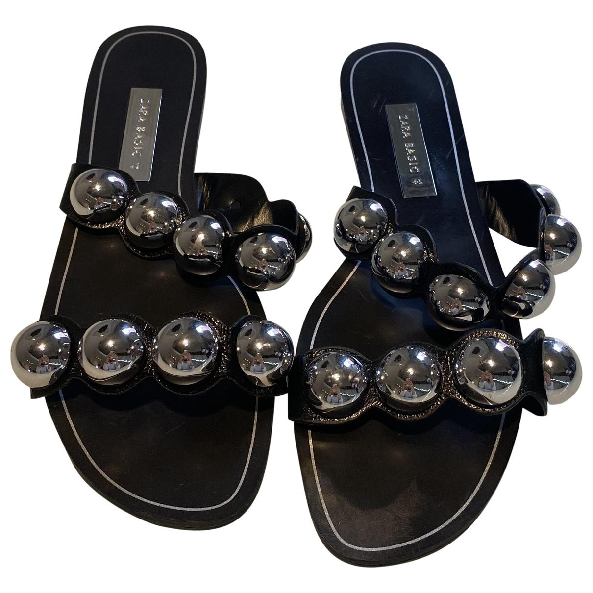 Zara - Sandales   pour femme en caoutchouc - noir