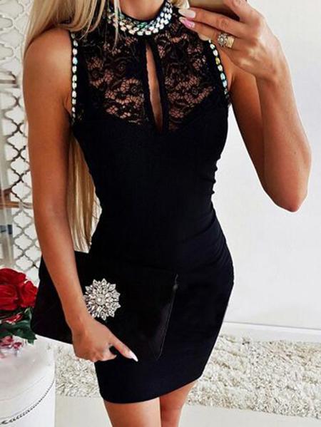 Yoins Black Lace Patchwork Cut Out Sleeveless Dress