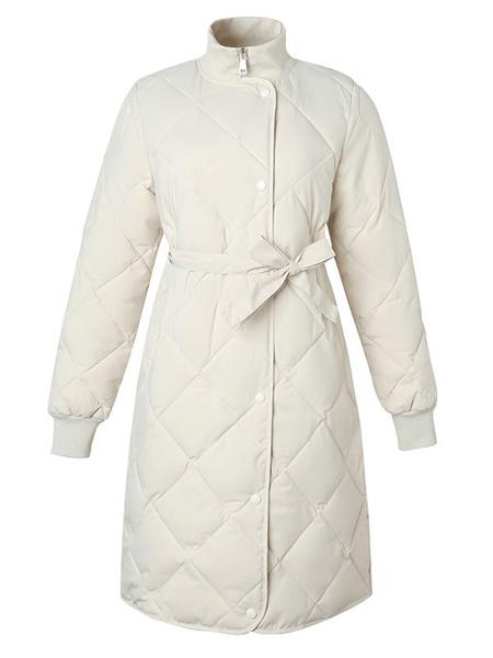 Milanoo Women\'s Puffer Coats Ecru White Medium Stand Collar Zipper Long Sleeves Academic Padded Winter Coat Outerwear