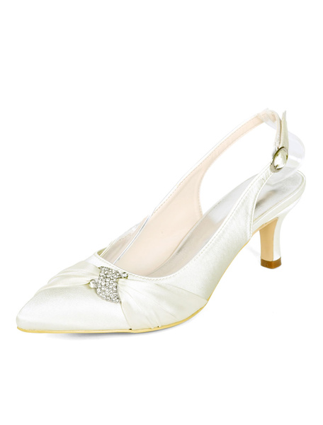 Milanoo Mother Of The Bride Shoes Plus Size Kitten Heel Pointed Toe Crystal Embellished Slingbacks Wedding Shoes