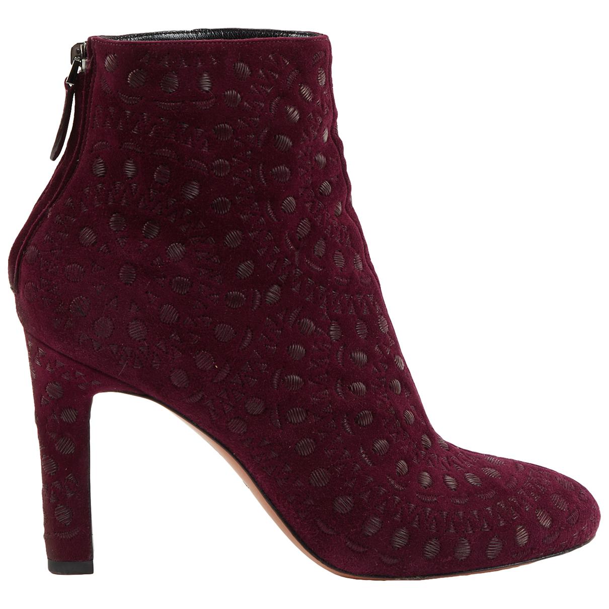 Alaïa \N Burgundy Suede Ankle boots for Women 39 EU