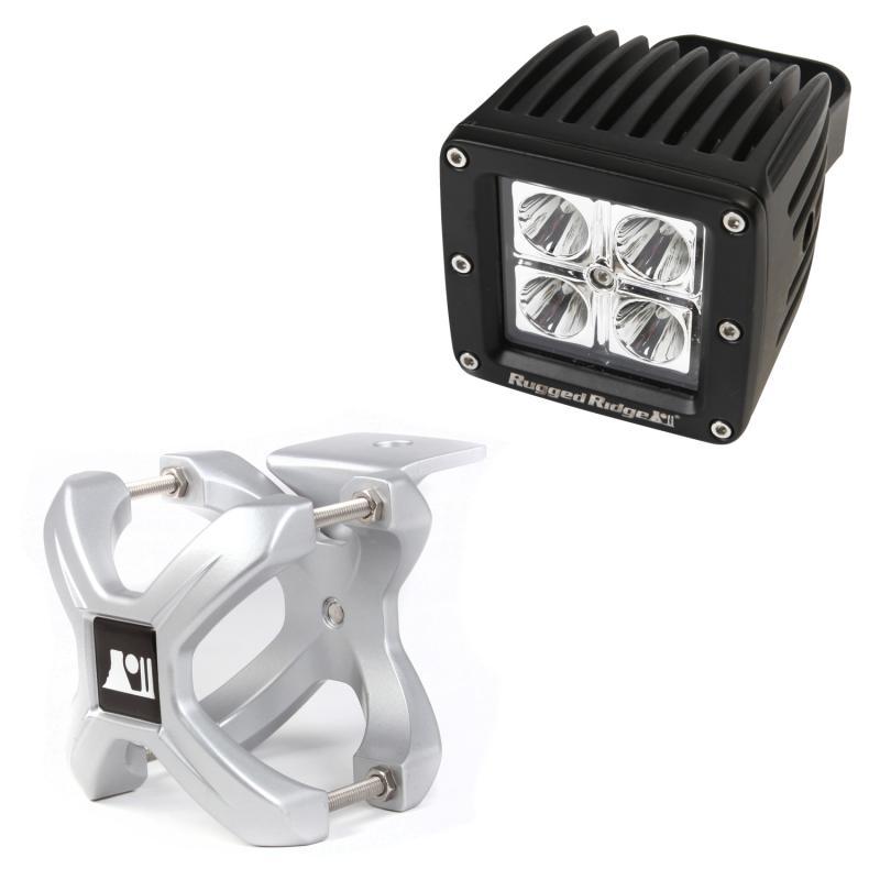 Rugged Ridge 15210.31 Light Kit, X-Clamp/Square LED, Small, Silver, 1 Piece