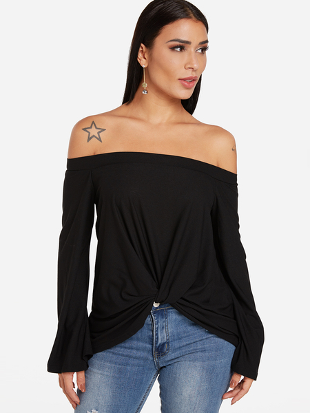 Yoins Black Knotted Front Design Plain Off The Shoulder Long Sleeves T-shirts