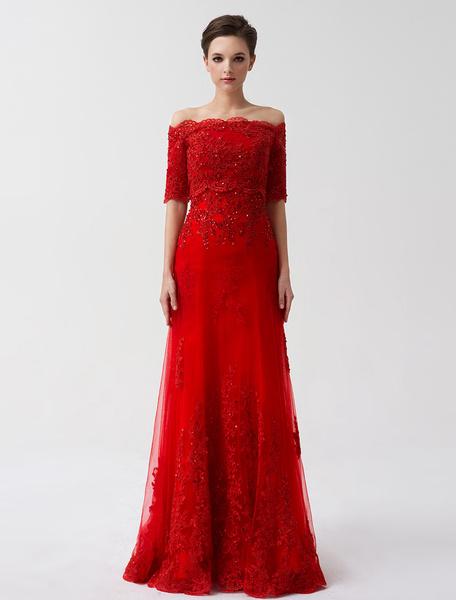Milanoo Red Wedding Dresses Off The Shoulder Bridal Dress Lace Applique Half Sleeve Sequin Floor Length Formal Evening Gowns