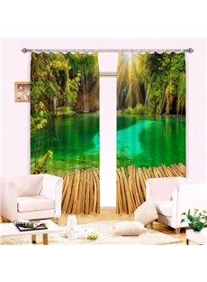 Green Deep Abyss with Bright Printing Thick Polyester Custom 3D Curtain