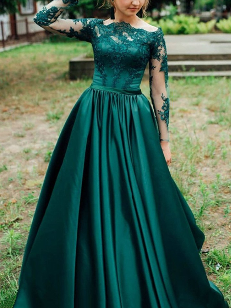 Ericdress Long Sleeves Appliques Prom Dress