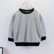 Sweatshirt mit Streifen und Baeren Flicken