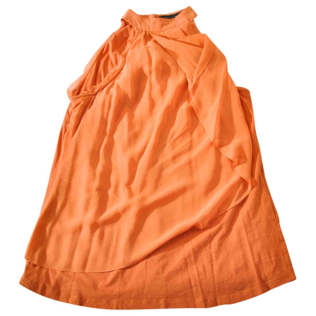Non Signé / Unsigned N Orange Silk  top for Women L International