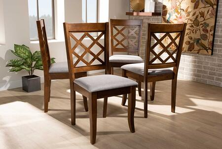 Brigitte Collection RH330C-GREY/WALNUT-DC-4PK Modern and Contemporary Grey Fabric Upholstered and Walnut Brown Finished Wood 4-Piece Dining Chair