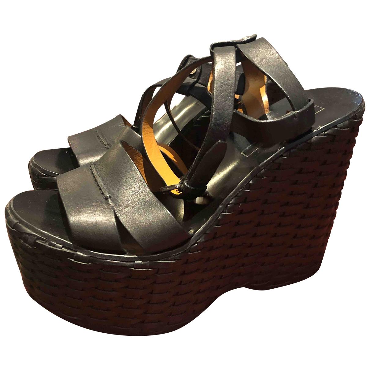 Polo Ralph Lauren - Sabots   pour femme en cuir - noir