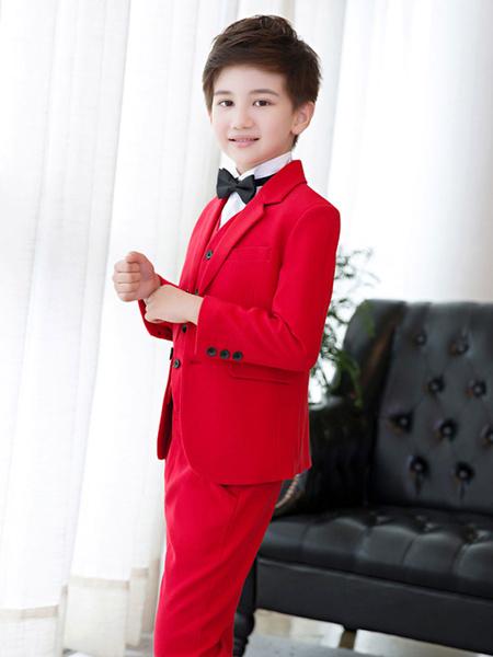 Milanoo El portador de anillo Trajes camisa chaleco Abrigo Pantalones Chalina 5 pieza Trajes de boda Boy