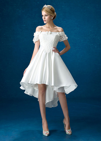Milanoo Summer Wedding Dresses 2020 White Lace Satin Off The Shoulder Bridal Gown High Low Beading Bows Short Sleeve Bridal Dress
