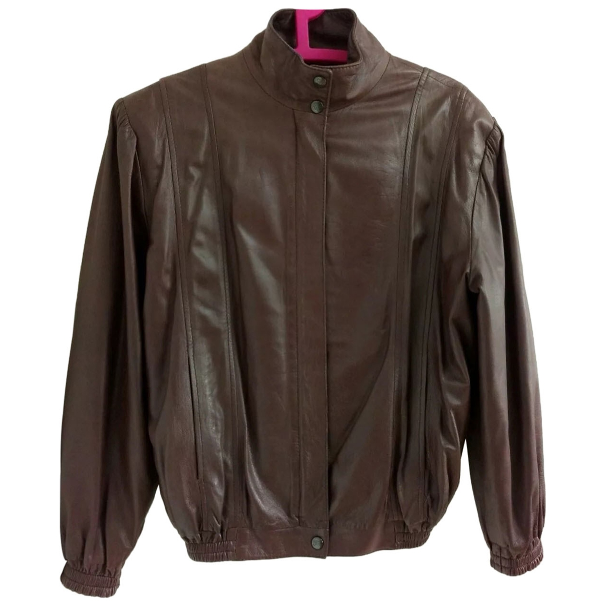 Burberry \N Burgundy Leather Leather jacket for Women 12 UK