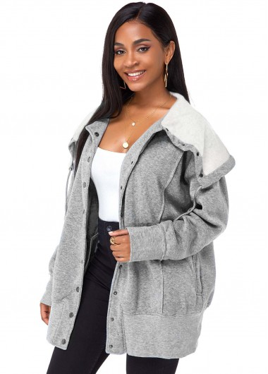 Cape Shoulder Button Up Side Pocket Coat - L