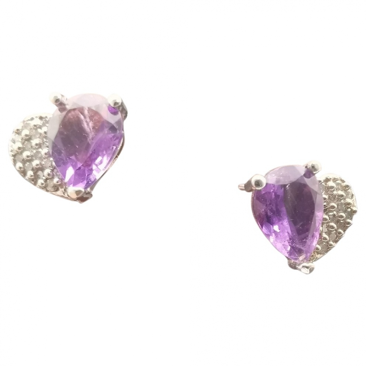 Non Signe / Unsigned Amethyste OhrRing in  Grau Weissgold