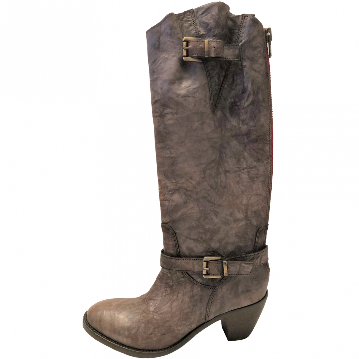 Non Signé / Unsigned \N Brown Leather Boots for Women 40 EU