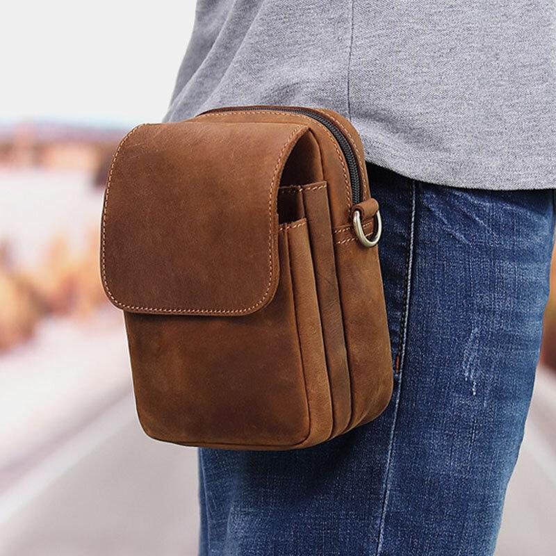 Men Genuine Leather Multi-slots Retro Multifunctional Wallet Phone Bag Waist Bag