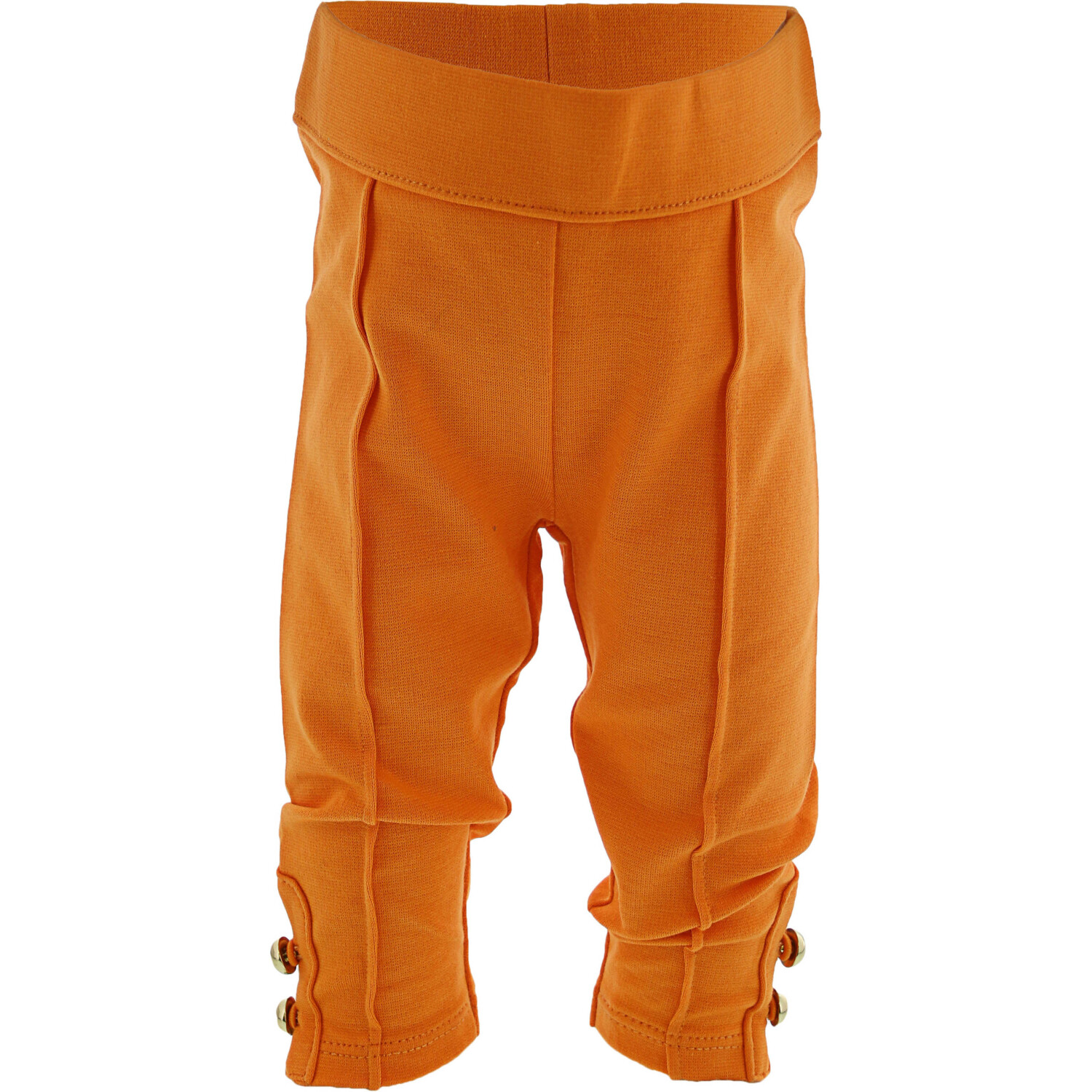 Janie And Jack Girl's Orange Button Cuff Ponte Pant Pants - 3-6 Months