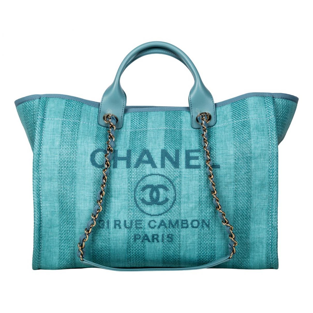Chanel - Sac a main Deauville pour femme en toile - turquoise