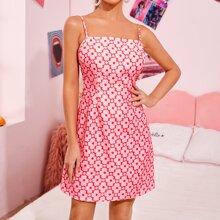 Cami Kleid mit Reissverschluss hinten und Blumen Muster