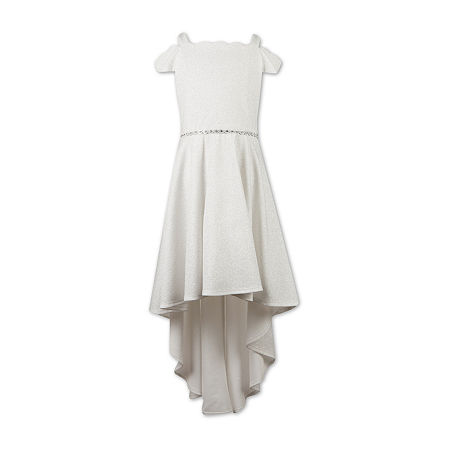 Speechless Little & Big Girls Embellished Short Sleeve Cold Shoulder Sleeve Party Dress, 4 , White
