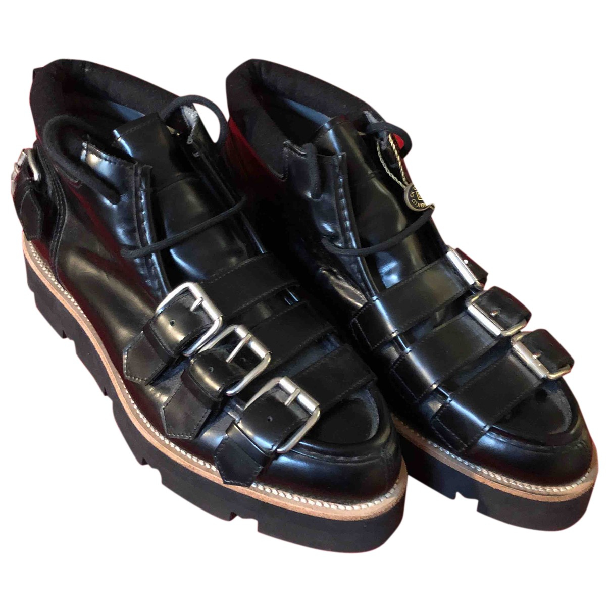 Msgm N Black Leather Boots for Men 44 EU